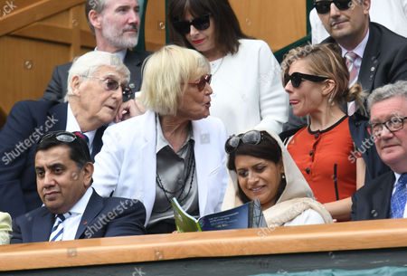 05 07 16 Wimbledon Day 8 at All England Lawn Tennis Club Center Court Sienna Miller with Sir Michael and Lady Mary Parkinson