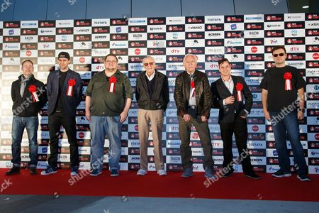 (L to R) Billy Boyd, Matthew Lewis, C.B. Cebulski, Stan Lee, Lance Henriksen, Daniel Logan and John Alcantar