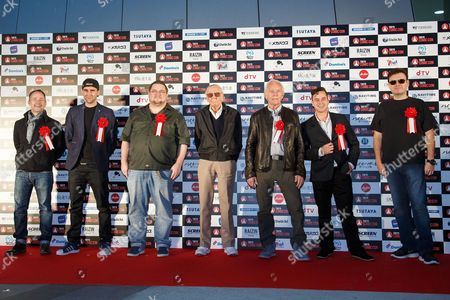 Stock Image of (L to R) Billy Boyd, Matthew Lewis, C.B. Cebulski, Stan Lee, Lance Henriksen, Daniel Logan and John Alcantar