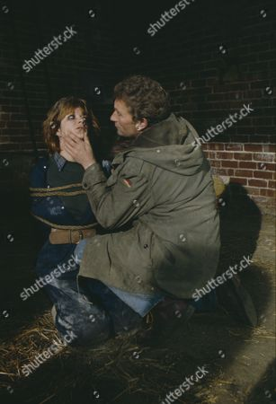 Madeleine Howard (as Sarah) and Dennis Blanch (as Jim Latimer) during Sarah's abduction (Episode 1616 - 10th December 1991)