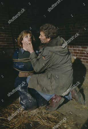 Stock Photo of Madeleine Howard (as Sarah) and Dennis Blanch (as Jim Latimer) during Sarah's abduction (Episode 1616 - 10th December 1991)