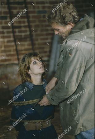 Stock Image of Madeleine Howard (as Sarah) and Dennis Blanch (as Jim Latimer) during Sarah's abduction (Episode 1616 - 10th December 1991)