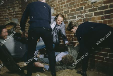 Clive Hornby (as Jack Sugden) confronts Dennis Blanch (as Jim Latimer) during Sarah's abduction, featuring Madeleine Howard (as Sarah) and Frazer Hines (as Joe Sugden) (Episode 1616 - 10th December 1991)