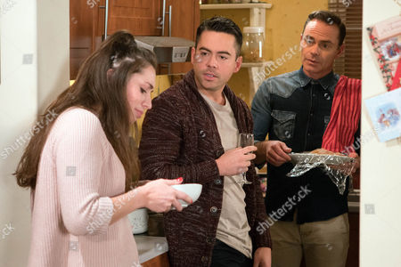 Billy Mayhew, as played by Daniel Brocklebank, is about to leave he church comes across Shona, as played by Julie Goulding, drinking wine in the vestry. Shona admits she's fallen out with Nathan, her ex and she's homeless. Billy insists she comes back to No.11 with him. Unbeknown to them, Nathan watches on. What trouble is Billy bringing to the street? (Episode 9065 - Xmas Day 25th Dec 2016)