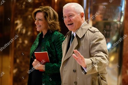 KT McFarland, Robert Gates K.T. McFarland, Deputy National Security Advisor for President-elect Donald Trump, left, walks with former Secretary of Defense Robert Gates in the lobby of Trump Tower, in New York