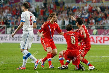 Roman Pavlyuchenko celebrates his sides third goal at the Municipal Stadium, Wroclaw