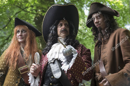 Stanley Tucci as Hook, Laura Elphinstone as Starkey and Rasmus Hardiker as Smee