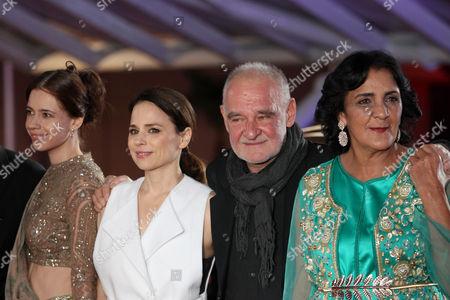 "Jury members, from left, Kalki Koechlin, Suzanne Clement, jury president Bela Tarr, Fatima Harandi ""Raouia"" attend the 16th Marrakech International Film Festival Opening Ceremony in Marrakech, Morocco, . The festival runs from Dec. 2-10"