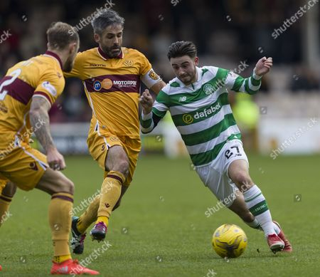 Patrick Roberts of Celtic runs past Keith Lasley of Motherwell during the SPFL Ladbrokes Premiership match between Motherwell & Celtic at Fir Park, Motherwell on 3rd December
