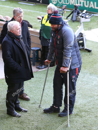 Billy Vunipola returns to Twickenham on crutches  and chats with Miles Harrison & Stuart Barnes (SKY SPORTS) after his injury a week ago and subsequent surgery