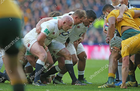 England Front Row - Mako Vunipola (R), Dylan Hartley (Captain)  & Dan Cole of England (L)