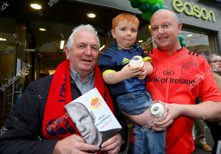Paul O'Connell Book Signing, Eason, O'Connell Street, Limerick 3/12/2016. Mike, Donnacha and Conor Costelloe from Norwood Park Limerick pictured at Eason O?Connell Street in Limerick for the signing of Paul O'Connell's highly acclaimed autobiography, ?The Battle?. . There has never been a rugby player quite like Paul O'Connell. He is synonymous with passion, heart and determination; but he is also the thinking man's rugby player, a legendary student of the game. As the heartbeat of Munster, British and Irish Lions captain in 2009, and captain of the first Ireland team to defend a Six Nations championship, O'Connell has emerged as perhaps the most beloved of the golden generation of Irish rugby players. The book can be purchased on www.easons.com
