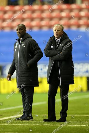Steve McClaren, Derby County manager alongside assistant manager, Chris Powell
