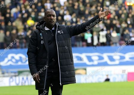 Derby County assistant manager, Chris Powell, at Wigan