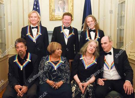 Al Pacino, Joe Walsh, Mavis Staples, Don Henley, Martha Argerich, Timothy Schmit, James Taylor The 2016 Kennedy Center Honorees, front row, from left, Al Pacino, Mavis Staples, Martha Argerich, and James Taylor; rear row, from left, Joe Walsh, Don Henley, and Timothy Schmit, are photographed at the State Department for the Kennedy Center Honors gala dinner, in Washington