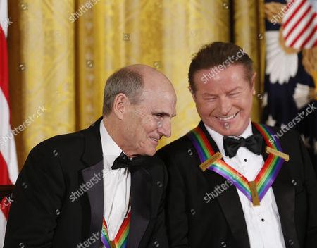 Singer James Taylor and Eagles band member Don Henley