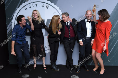 Robbie Ryan (left) and Andrea Arnold (centre) - Best British Independent Film, 'American Honey' with Martin Freeman