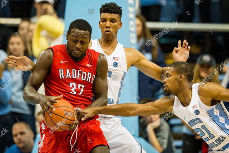 Radford center Randy Phillips (32) during the NCAA College Basketball game between the Radford Highlanders and the North Carolina Tar Heels at the Dean E. Smith Center on in Chapel Hill, North Carolina