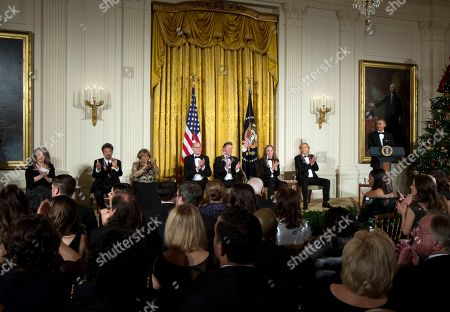 Barack Obama, Al Pacino, Mavis Staples, Martha Argerich, James Taylor, Joe Walsh, Don Henley, Timothy Schmit President Barack Obama, right, is applauded by the recipients of the 2016 Kennedy Center Honors, from left, Argentine pianist Martha Argerich, actor Al Pacino, gospel and blues singer Mavis Staples, musician James Taylor, and members of the rock band the Eagles, Don Henley, Timothy Schmit, and Joe Walsh, during a reception in their honor in the East Room of the White House in Washington, hosted by the president and first lady Michelle Obama