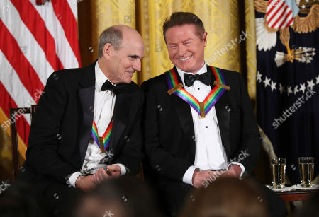 James Taylor, Don Henley Recipient of the 2016 Kennedy Center Honors musician James Taylor, left, speaks to Don Henley, a member of the rock band the Eagles, as he is recognized during a reception in their honor in the East Room of the White House in Washington, hosted by President Barack Obama and first lady Michelle Obama