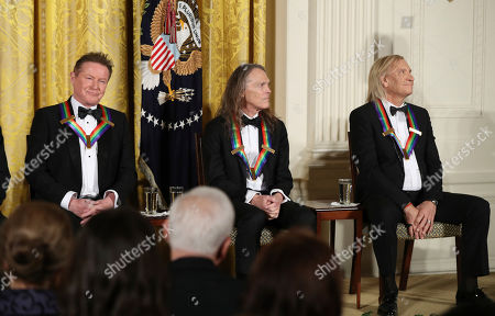 Joe Walsh, Don Henley, Timothy Schmit The recipients of the 2016 Kennedy Center Honors, members of the rock band the Eagles, from left, Don Henley, Timothy Schmit, and Joe Walsh are recognized during a reception in their honor in the East Room of the White House in Washington, hosted by President Barack Obama and first lady Michelle Obama