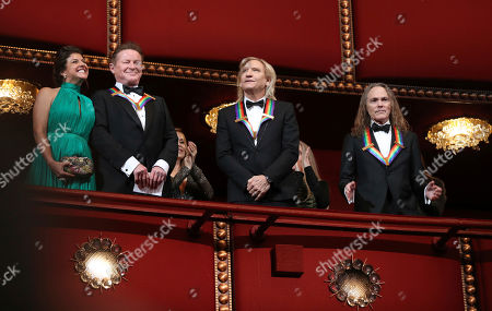 Joe Walsh, Don Henley, Timothy Schmit Recipients of the 2016 Kennedy Center Honor award, the members of the Eagles band, from left, Don Henley, Joe Walsh, and Timothy Schmit, applaud during the Kennedy Center Honors Gala at the Kennedy Center in Washington