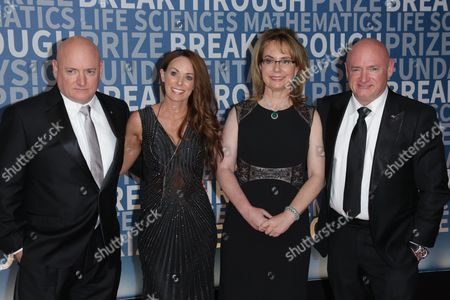 Stock Image of Scott Kelly and Amiko Kauderer with Gabrielle Giffords and Mark Kelly