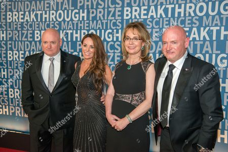 Breakthrough Prize, Scott Kelly, Amiko Kauderer, Gabrielle Giffords, Gabby Giffords, Mark Kelly, NASA Astronaut Scott Kelly, Amiko Kauderer, former Arizona congresswoman Gabrielle Giffords and her husband astronaut Mark Kelly arrive at the fifth annual Breakthrough Prize Ceremony on at the NASA Ames Research Center in Mountain View, Calif