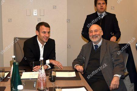 Emmanuel Macron and Joseph Stiglitz