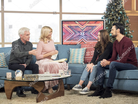 Stock Image of Phillip Schofield and Holly Willoughby with Emily Middlemass and Rylan Clark