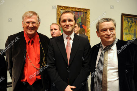 'From Russia' Private View at the Royal Academy of Arts Piccadilly London Sir Nicholas Grimshaw the Culture Minister James Purnell Mp & the Curator of the Exhibition Norman Rosenthal