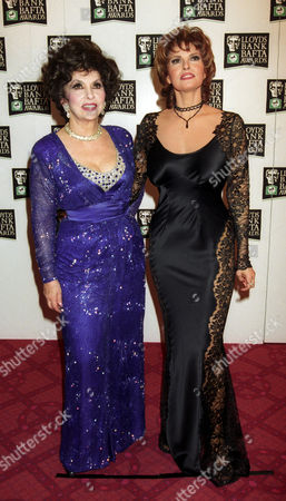 Stock Image of the British Academy Film and Television Awards at the Theatre Royal Gina Lollabridgia with Raquel Welch