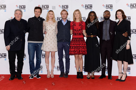 London UK 5th October 2016: Rick Mccallum, Jack Davenport, Laura Carmichael, Tom Felton, Rosamund Pike, Amma Asante, David Oyelowo, Jessica Oyelowo at the Photocall For 'A United Kingdom' the Opening Night Film For the 60th Bfi London Film Festival at the Mayfair Hotel, London, UK, October 5th 2016