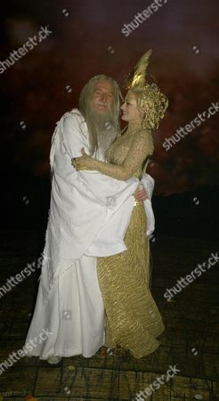 Backstage For 'Lord of the Rings' Press Night at the Theatre Royal Drury Lane Malcolm Storry (gandalf) and Laura Michelle Kelly (galadriel)