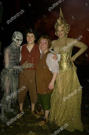Backstage For 'Lord of the Rings' Press Night at the Theatre Royal Drury Lane Michael Therriault (gollum) Laura Michelle Kelly (galadriel) and James Loye (frodo) and Peter Howe (sam)
