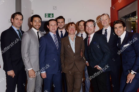 London UK 4th October 2016: Daniel Boys, Mark Gatiss, Ben Mansfield, Nathan Nolan, Ian Hallard, Jack Derges, Greg Lockett, James Holmes at the 'boys in the Band' Press Night Afterparty at the Park Theatre, London UK, October 4th 2016