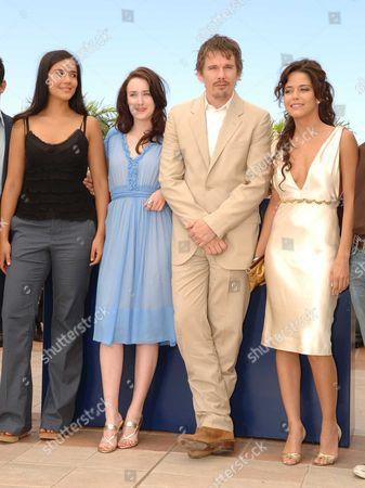 Stock Image of 2006 Cannes Film Festival Photocall For Fast Food Nation Catalina Sandino Moreno Ashley Johnson Ethan Hawke & Wilmer Valderamma