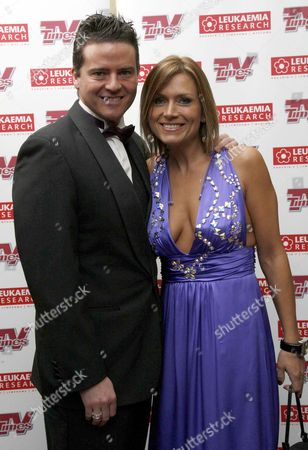Stock Image of Christmas Carols with the Stars in Aid of Leukaemia Research at the Royal Albert Hall Tricia Penrose ( Heart Beat) with Her Husband Mark Simpkin