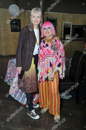 Stock Image of Exclusive Designer Couture Trunk Show at the Collection Brompton Road London Poppy De Villeneuve with Zandra Rhodes