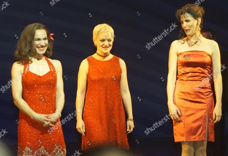 First Night of 'The Witches of Eastwick' at the Theatre Royal Drury Lane Curtain Call Joanna Riding Maria Friedman and Rosemary Ashe