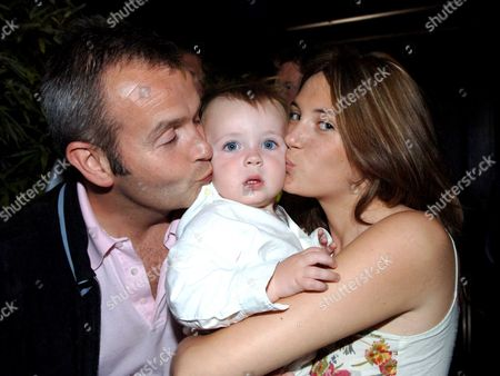 Opening Party of the Frankies Bar & Grill Chiswick High Road West London Piers Adam with His Partner Sophie Vanacore and Their Son
