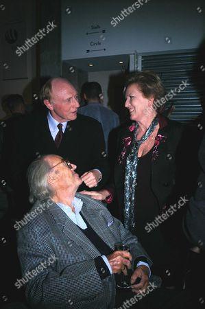 First Night of 'Hedda Gabler' at the Almeida Theatre Islington John Mortimer with Lord Neil Kinnock and Celestia Fox