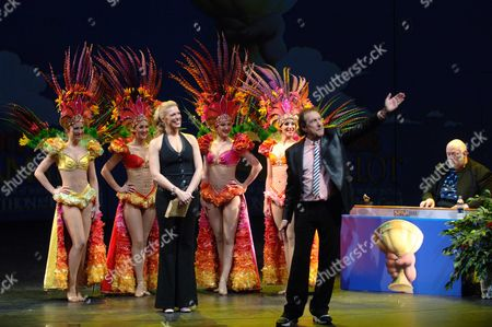 Launch of 'Spamalot' at the Palace Theatre Cambridge Circus Selina Hamilton Rebecca Giacopazzi Rachel Dempsey Krystal Archer Eric Idle and John Du Prez