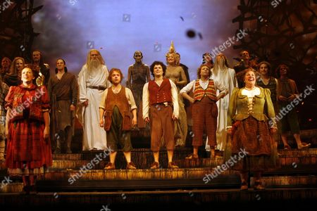 Lord of the Rings Curtain Call and Back Stage at the Theatre Royal Drury Lane Theatre London Jerome Pradon Rosalie Craig Malcolm Storry Laura Michelle Kelly Peter Howe Michael Therriault and James Loye