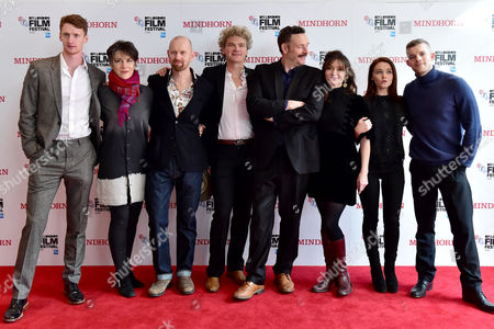 London UK 9th October 2016: Robin Morrissey, Harriet Walter, Sean Foley, Simon Farnby, Julian Barratt, Essie Davis, Jessica Barden and Russell Tovey at the Premiere of 'mindhorn' at the Odeon Leicester Square During the Bfi London Film Festival On the 9th October, 2016