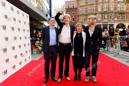 London UK 9th October 2016: Producer Jack Arbuthnott, Screenwriter Simon Farnby, Producer Laura Hastings-smith, Director Sean Foley at the Premiere of 'mindhorn' at the Odeon Leicester Square During the Bfi London Film Festival On the 9th October, 2016
