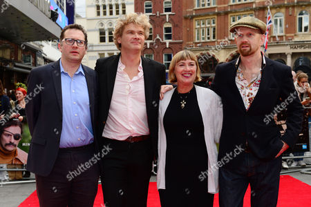 Stock Image of London UK 9th October 2016: Producer Jack Arbuthnott, Screenwriter Simon Farnby, Producer Laura Hastings-smith, Director Sean Foley at the Premiere of 'mindhorn' at the Odeon Leicester Square During the Bfi London Film Festival On the 9th October, 2016