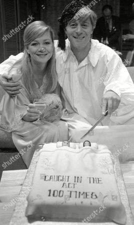 the 100th Show of 'Caught in the Act' at the Garrick Theatre Martin Jarvis and Judy Geeson