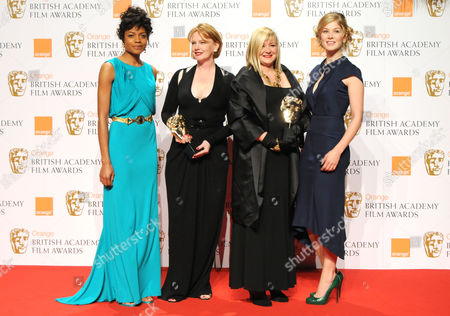The 2008 British Academy Film Awards Press Room at the Royal Opera House Naomie Harris and Rosamund Pike Who Presented Production Design For 'Atonement' to Sarah Greenwood and Katie Spencer