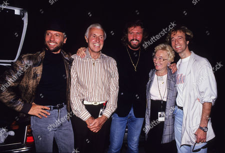 1988 the Bee Gees 'One For All' Tour the Bee Gees with Their Parents - (l-r) Maurice Gibb Hugh Gibb Barry Gibb Barbara Gibb and Robin Gibb